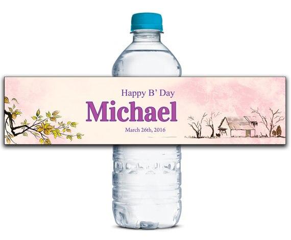 Flower Personalized Water Bottle Labels