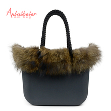 ANLAIBEIER Classic big Mini EVA bag Obag style complete AMbag with Racoon dog Fur trim inner pocket insert handles handbag