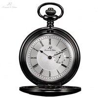 KS Skeleton Alloy Black Case Steampunk Style Retro Small Second Hand Design Analog Quartz Necklace Clock