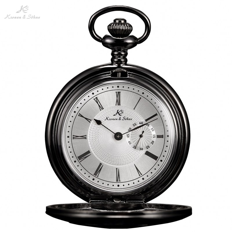 KS Skeleton Alloy Black Steampunk Style Retro Small Second Hand Design Analog Quartz Fob Chain Clock Men Pocket Watches /KSP017