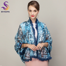 [BYSIFA] Women Genuine Rabbit Fur Scarves Fashion Ladies Chiffon Large Silk Scarf Leopard Printed Winter Warm Neck Scarf Shawl