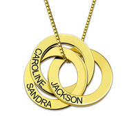 Engraved Russian Ring Necklace Gold Color 3 Rings Necklace Anniversary Gift For Her