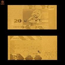 Billets de banque plaqué or 24k, produits de qualité, Antique, faux papier-monnaie, 20 Lats, Souvenir, Collection de décoration pour la maison