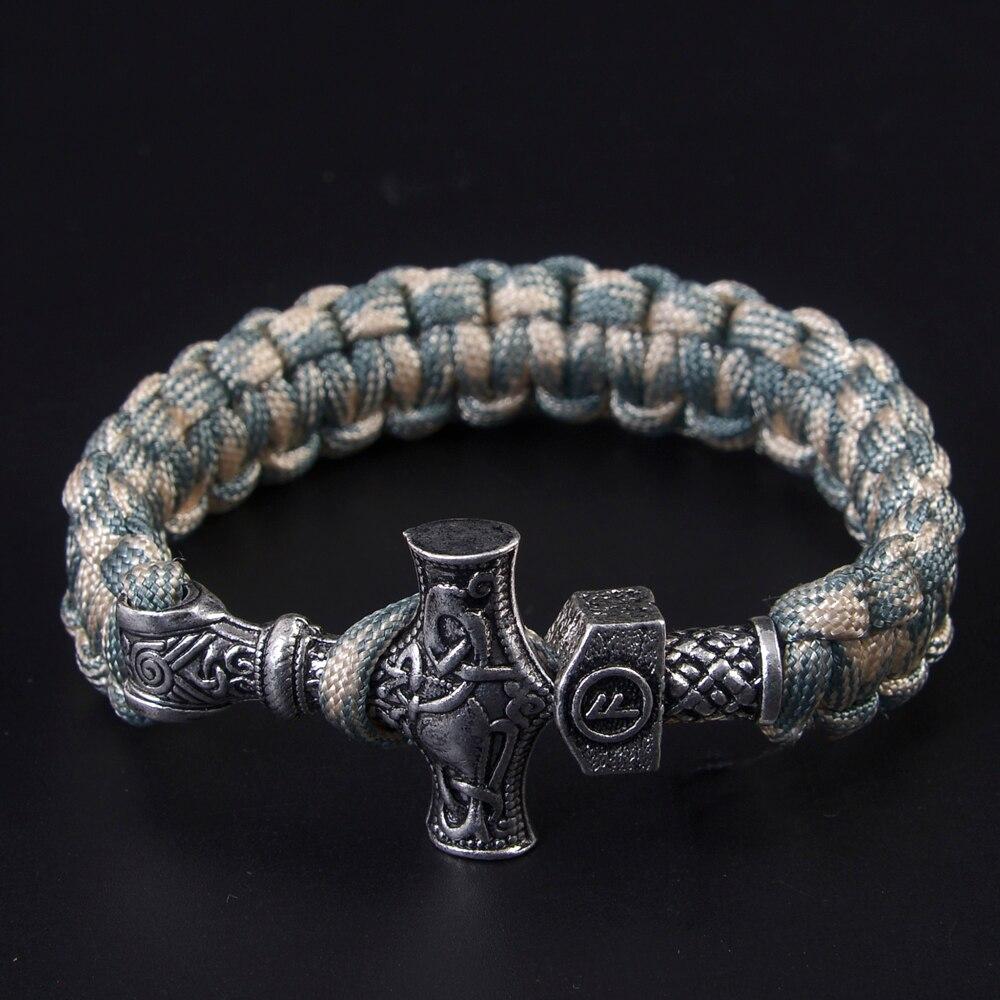 Norse Viking Bracelets Thor Mjolnir with Hammer Bead Paracord Amuletceltic Rune Knot Amulet Scandinavian Bracelet Paracord