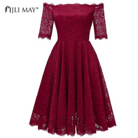 JLI MAY Half sleeve off shoulder lace dress women spring summer slim fit flare slash neck elegant white wedding party dresses