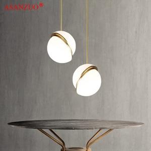 Image 2 - Nordic modern White ball bubble led pendant lights kitchen living room restaurant bedroom gold ring hanging lamp