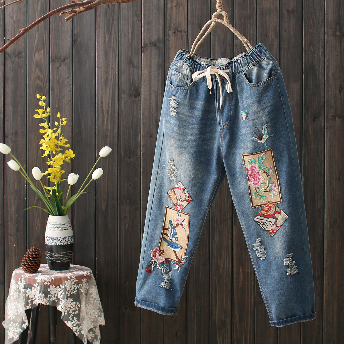 National Wind Embroidery Patch Holes In Jeans Wear White Cotton Retro Literary Elastic Waist Female Harem Pants national wind embroidery lace up neck dress