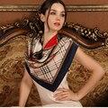 Женская Шелковый Шарф 2016 Шарф Способа Женщин Люксовый Бренд Плед Шарф Шелковый Платок для Женщин Мусульманский Платок Шелковый