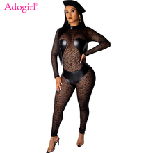 Adogirl PU Leather Patchwork Leopard Print Sheer Mesh Jumpsuit Mock Neck Long Sleeve Women Sexy Romper Night Club Party Bodysuit