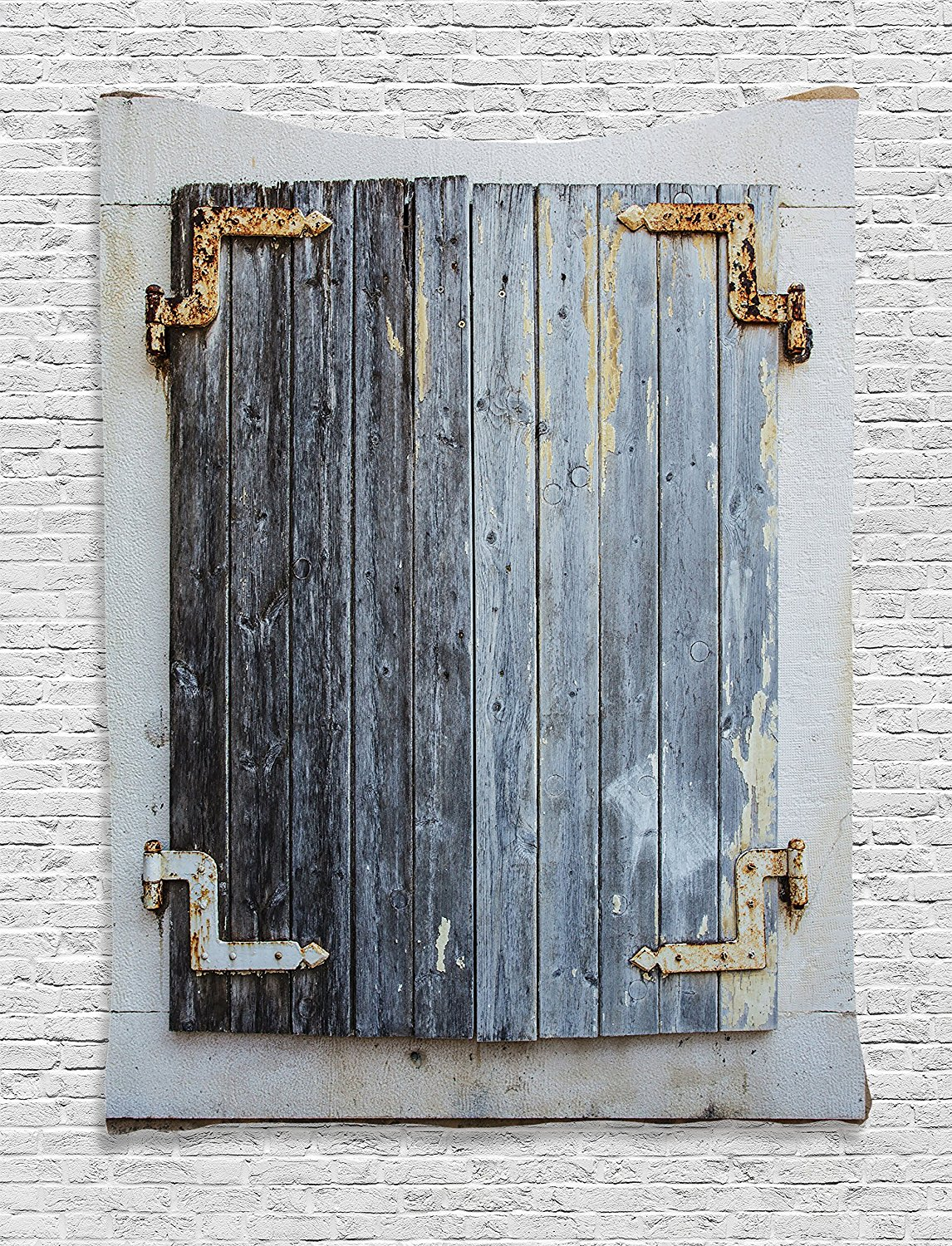 Us 17 34 16 Off Door Tapestry Shutters Decor Rustic Wooden Window Shutters With Shabby Paint Rusty Antique Traditional Village Picture Bedroom In