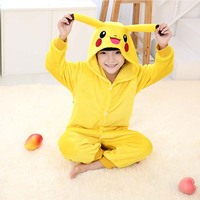 Hot Children Pokemon Pikachu Costume Halloween Costume 2016 Winter Kids Flannel Animal Pajamas Onesie Girls Boys