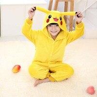 Hot Children Pokemon Pikachu Costume Halloween Costume 2016 Winter Kids Flannel Animal Pajamas Onesie Girls Boys