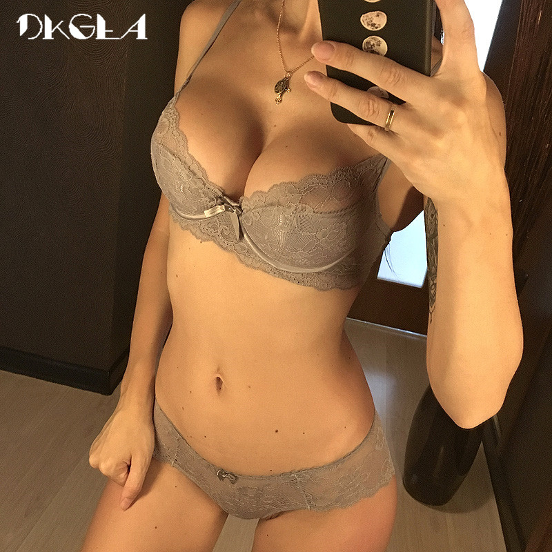 New Hot Gray Sexy Underwear Women   Set   Thin Cotton Comfortable Brassiere Lace   Bra     Sets   34 36 38 Black Embroidery Lingerie   set
