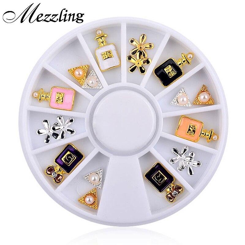 New 3d Charm Perfume Bottle Flowers Triangle Rhinestones Alloy Nail Art Tips Decoration Wheel дезодорант hongkong 2015 100 d perfume d