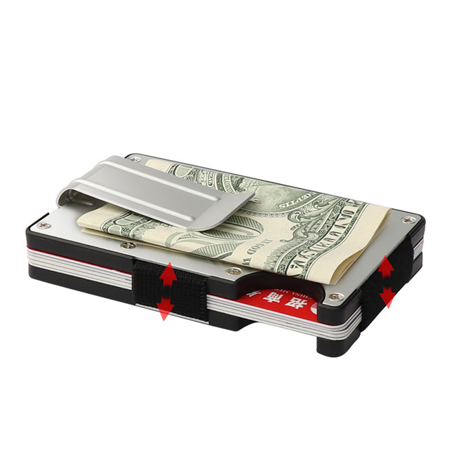 Mini slim wallet with money clip fashion business credit card ID holder solid anti-chief case protector #YL5 5