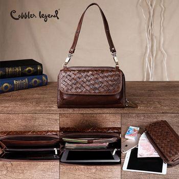 Cobbler Legend Brand Woven Genuine Leather Shoulder Bag Women Knitting Pattern Small Handbag Casual Flap Bag Lady Crossbody