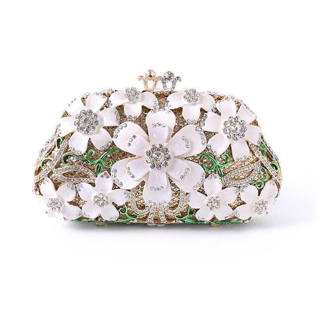 2019 Luxury Handbags Women Bags Designer Diamond Flower Clutch Wallet Wedding Party Banquet Ladies Evening Bags S109
