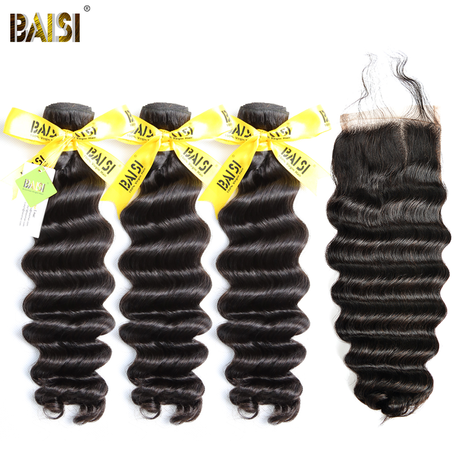 BAISI Hair 100% Unprocessed Brazilian Virgin Hair Natural Wave 3 Bundles with a 4*4 Lace Closure Free Shipping.