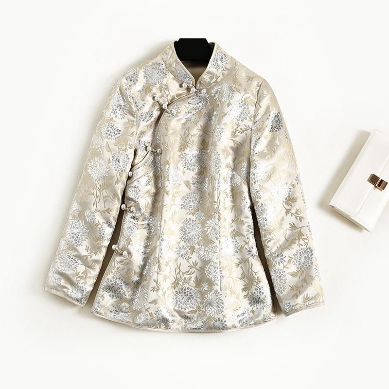 Femme Perles Xxl Fleur Chinois Beige Boutons Thin Style Veste Argent Manteau Golden Leaf Automne thick Motif Printemps Vintage pg54Zqwvq