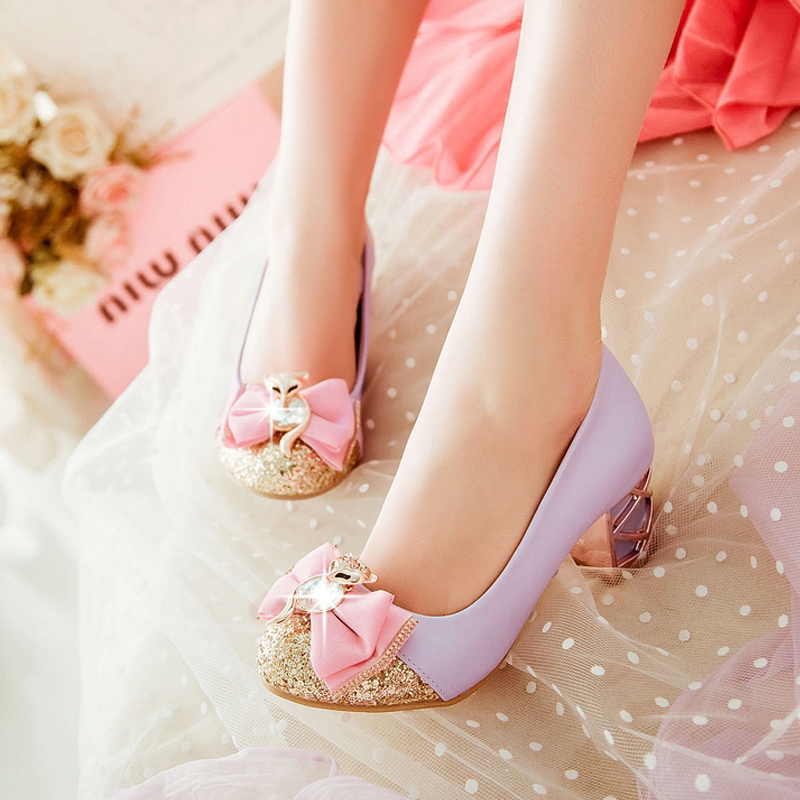 2019 Fashion Young Girls Crystal Heeled Shoes Bigger Girls Party Shoes 3-5cm Heeled Kid Bow-knot Paillette Shoes Pink Dance Shoe