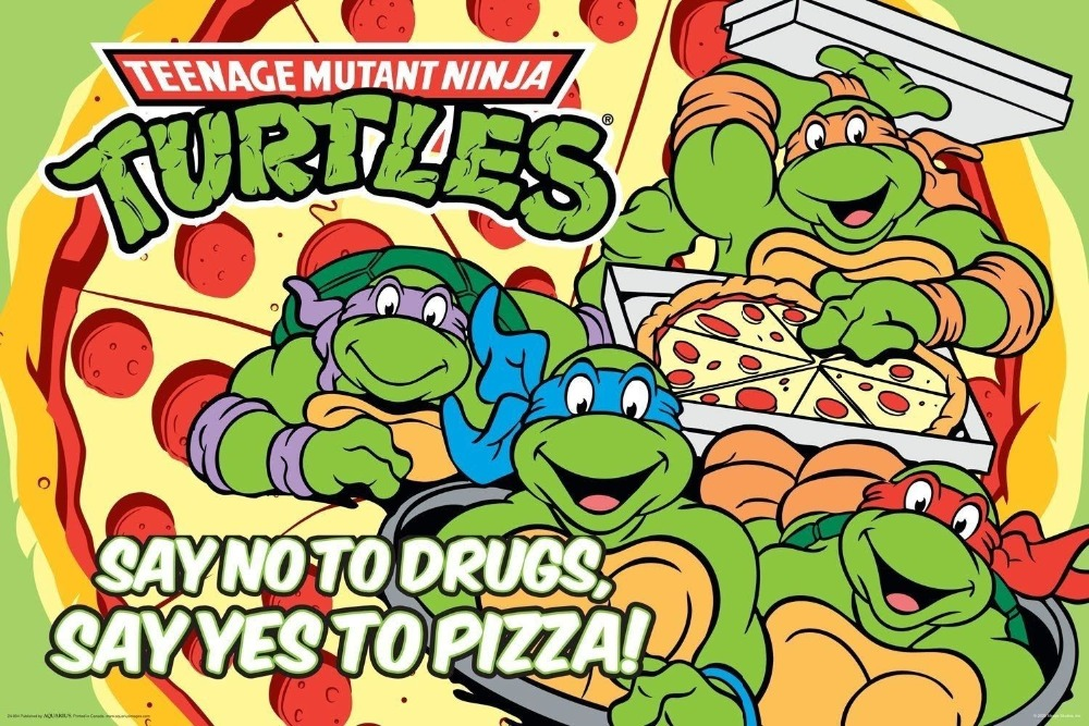 Decorative Painting Silk Poster No Mutant Ninja Say 24x36inch Teenage No-To-Drugs Yes-To-Pizza-Turtles-