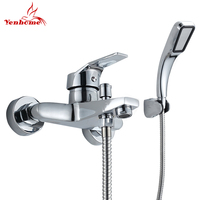 Luxury Classic Bathroom Shower Faucet Bath Faucet Mixer Tap With Hand Held Shower Head Set Two Hole Wall Mounted Bathroom Faucet