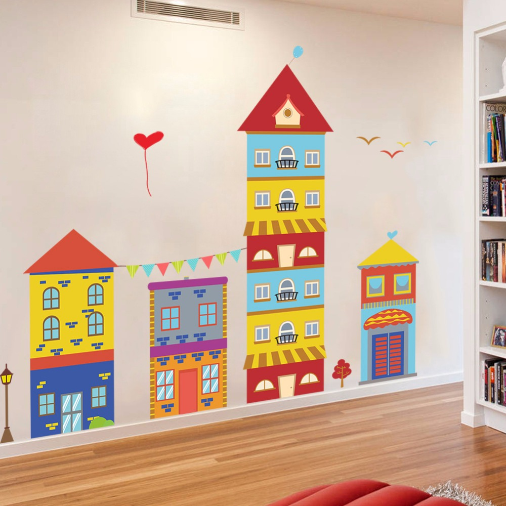 Colorful Rooms For Toddlers: Colorful House Wall Stickers For Kids Room Living Room