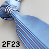 Hot Sell ! 2018 Latest Style Popular/Good Quality/Fashion Light Blue&Silver Striped/Dual Front men ties with geometry designs