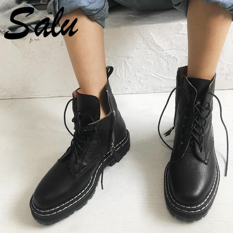 Salu 새로운 도착 여성 발목 부츠 크로스 묶인 가을 겨울 따뜻한 라운드 발가락 캐주얼 고품질 신발 여자-에서앵클 부츠부터 신발 의  그룹 1