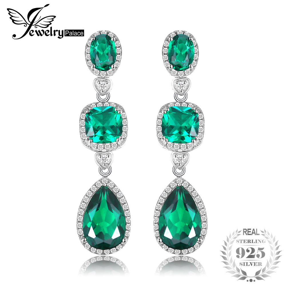 JewelryPalace 13ct Women Fine Gem Created Emerald Drop Earrings Dangle Set Real Pure Solid 925 Sterling Silver For Women Gift все цены