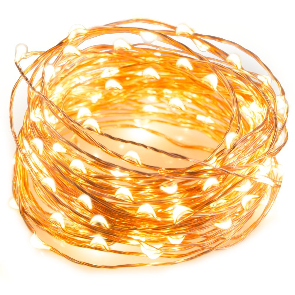 LED String Lights 33 ft with 100 LEDs, Waterproof Decorative Lights for Bedroom, Patio, Parties Copper Wire Lights, Warm White