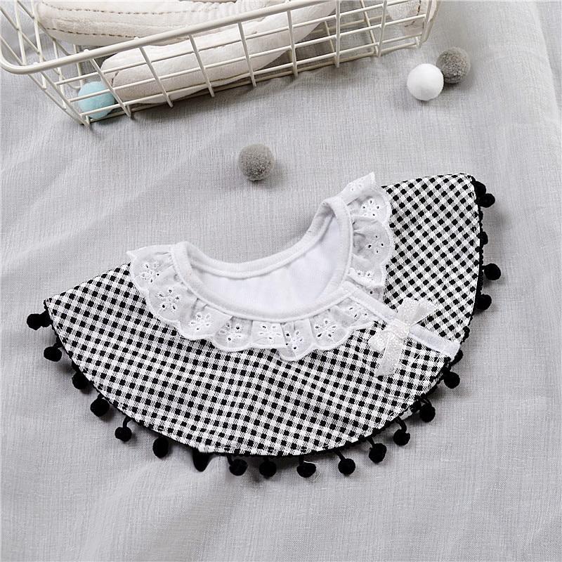 Nordic Style Infant Baby Eatting Bibs Plaid Black White Princess Lace Cotton Waterproof 360 Degree Round Bib (6)