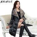 Genuine Leather Jacket Women 100% Pure Mink Fur Collar 2017 Warm 90% White Duck Down Sheepskin Leather Jackets Plus Size HJ563