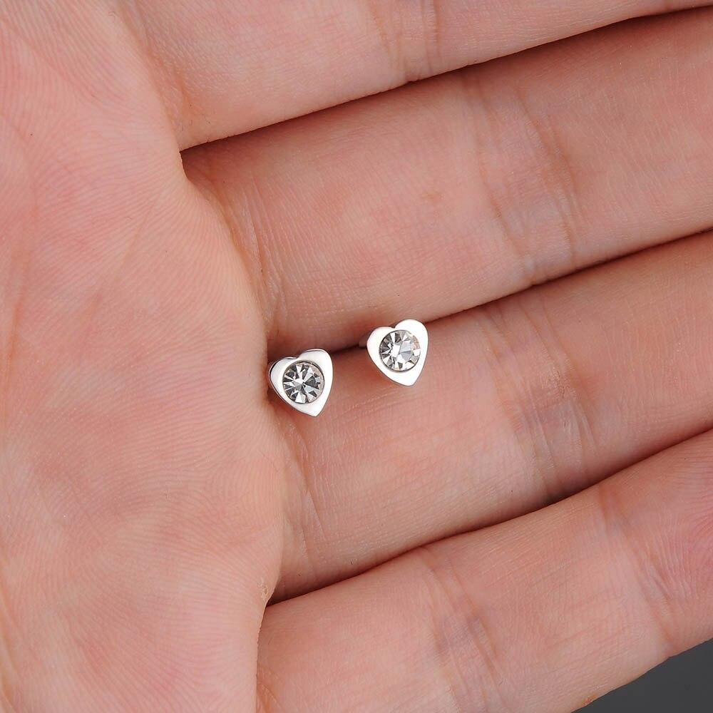 YiKLN AAA Cubic Zirconia Crystal Heart Shape Lovely Stud Earrings ...