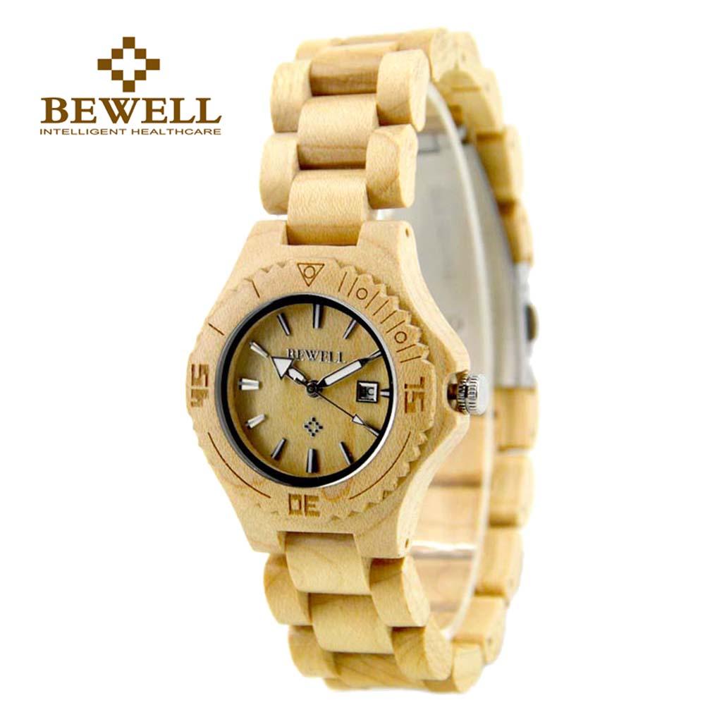 Prix pour Bewell bois montre de luxe femmes date affichage petit cadran analogique bracelet à quartz-montre femmes en bois papier boîte montre pour fille 020al