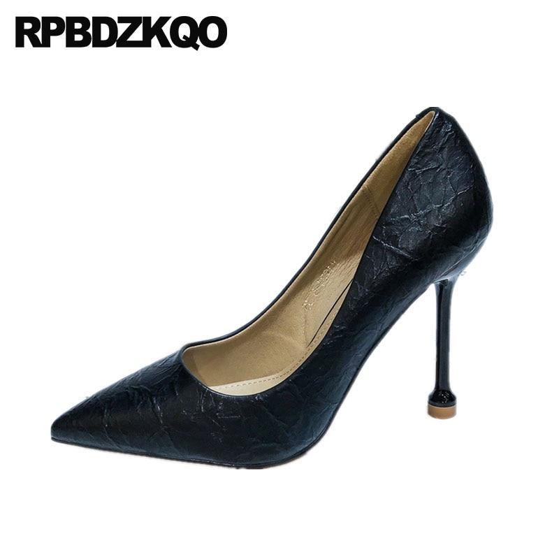 Super escarpins taille 4 34 travail stiletto extrême marque de mode femmes chaussures 2018 noir ultra italien court mince bout pointu talons hauts