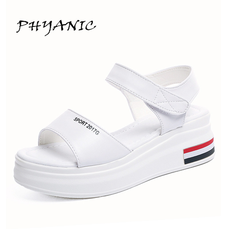 PHYANIC 2017 Summer New Women Sandals Fashion Wedge Shoes Woman Platform Wedge Heel Hook & Loop Elegant Outdoor Shoes PHY5181 phyanic summer style shoes woman 2017 new gladiator sandals platform flats fashion creepers women flat shoes 3 colors phy4044