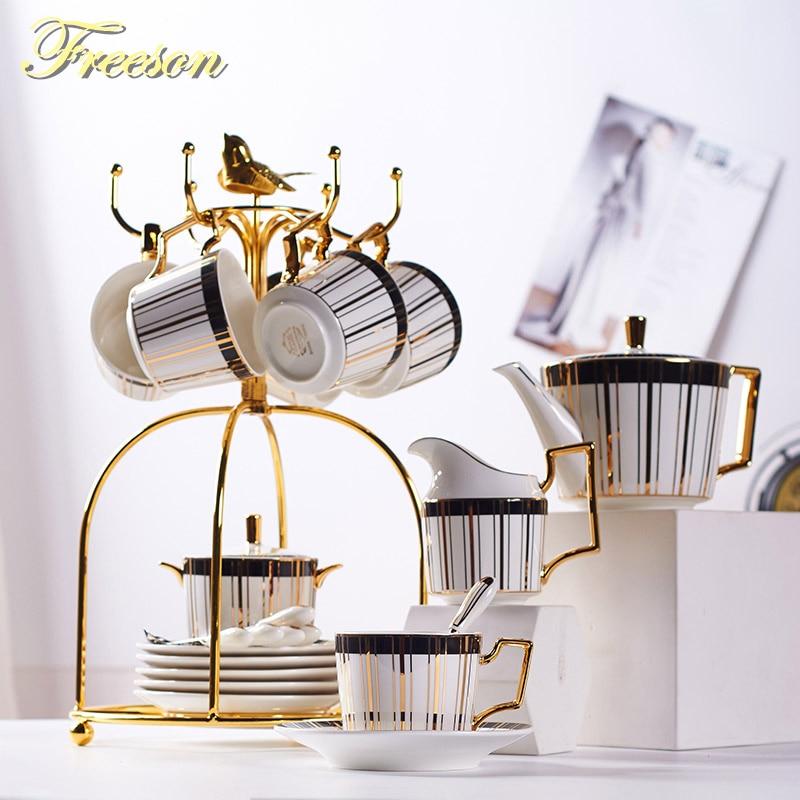 Gold Inlay Bone China Coffee Set Luxury Porcelain Tea Set Advanced Pot Cup Ceramic Mug Sugar Bowl Creamer Teapot Party Drinkware