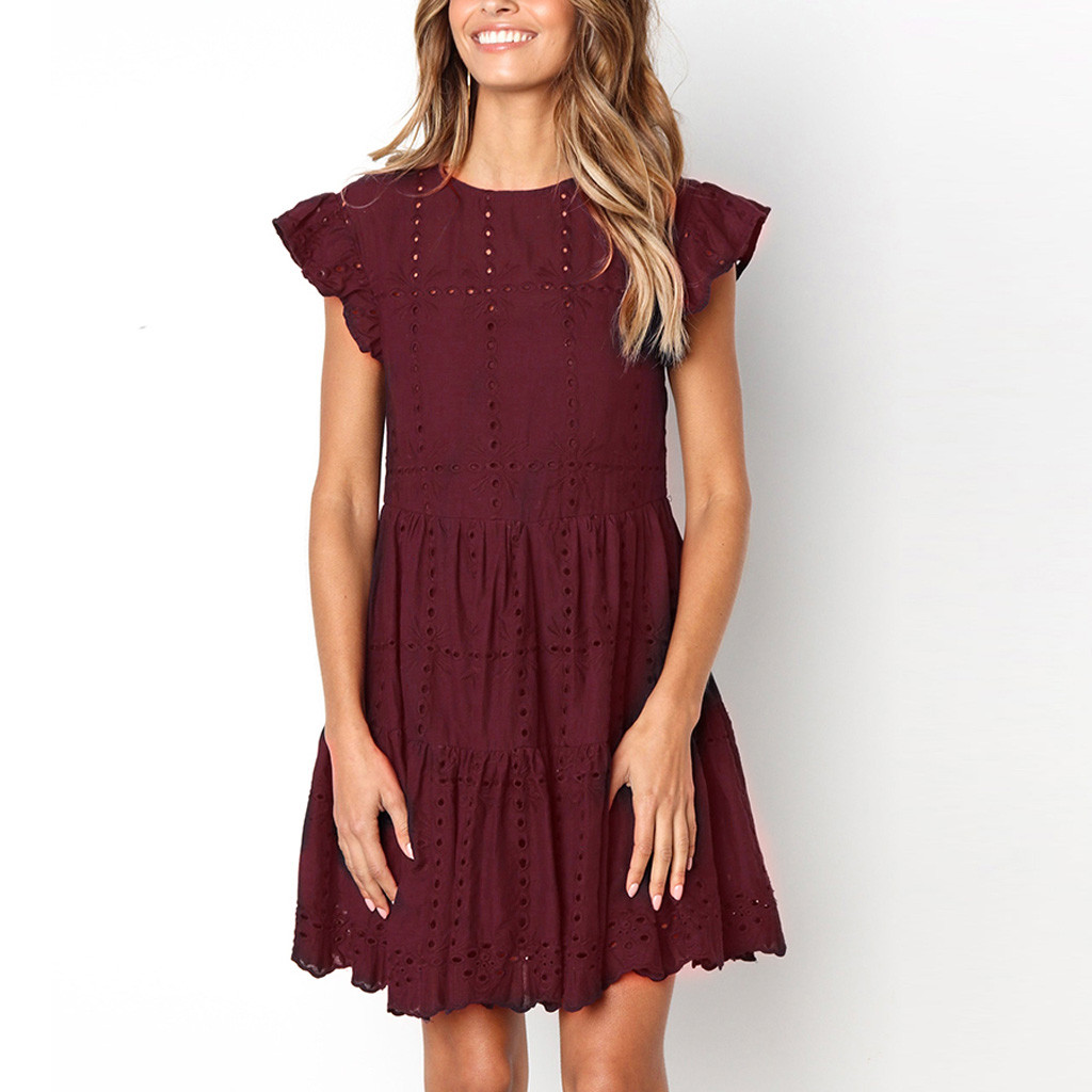 Hollow Out Ruched A-Line Mini Dress