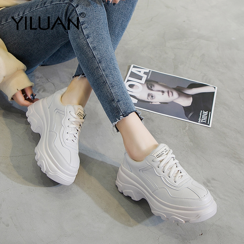 Yiluan Genuine Leather Dad Shoes 2019 spring autumn casual shoes muffin bottom thick running small size