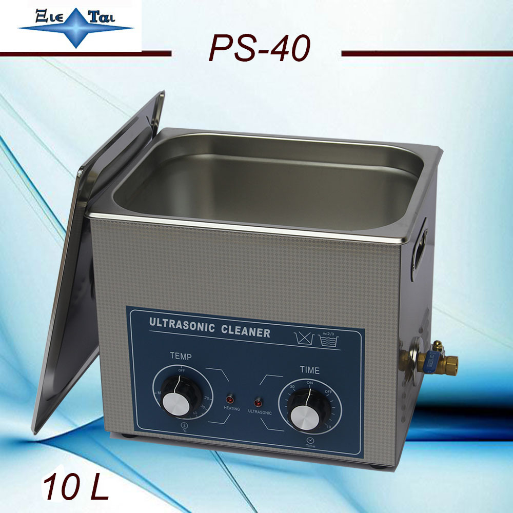 Freeshippingto ultrasonic cleaner 10L 240w PS-40 AC110/220v with timer&heating dental clinics Circuit borar free basket
