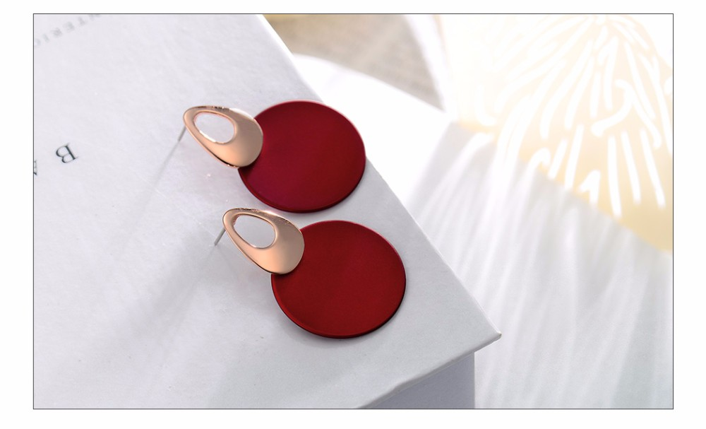 Viennois Fashion Jewelry Blue & Red Dangle Earrings for Woman Rose Gold Color Earrings Trendy Long Round Earrings 7