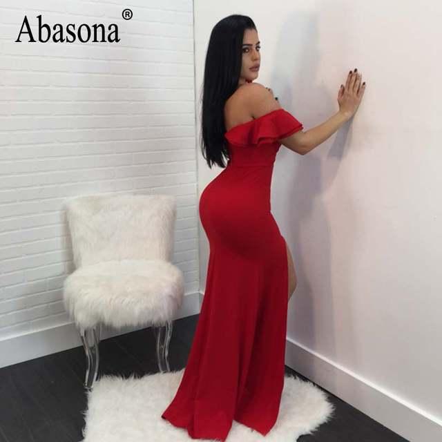 Online Shop Abasona Evening Party Dresses Women Long Maxi Dress Black Red  Blue Boydcon High Split Off Shoulder Ruffles Women Dress Summer  6c347260424b