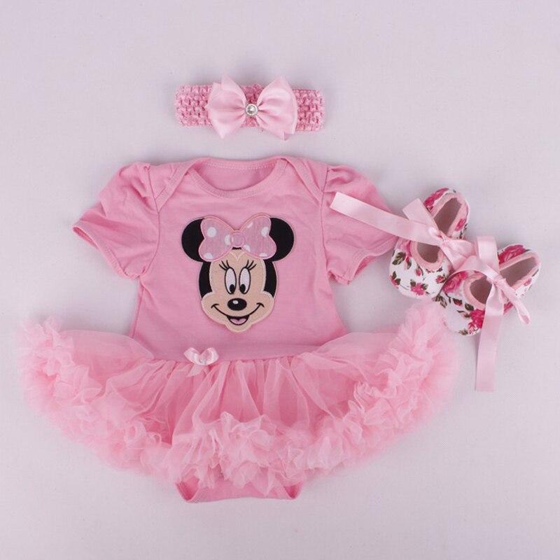 2016 Micky M Costume For Baby Girl Lace Romper Dress Headband Crib Shoes Newborn Tutu Sets