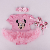 2016 Micky M Costume For Baby Girl Lace Romper Dress Headband Crib Shoes Newborn Tutu Sets