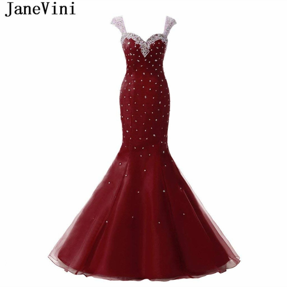 JaneVini Luxury Sequins Beaded Burgundy   Bridesmaid     Dresses   for Women Sweetheart Sheer Back Floor Length Mermaid Tulle Prom Gowns