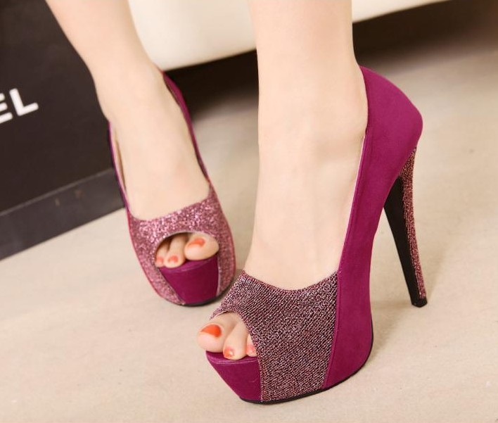 9a432ef9713b3 2014 new fashion han edition pumps lady shoes open toe women high heels  platform stiletto elegant hot pink color