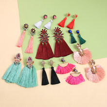 KISS ME Women Tassel Earrings New Collection Cotton Thread Acrylic Crystal Earrings Women Wholesale Bohemian Jewelry Accessories(China)