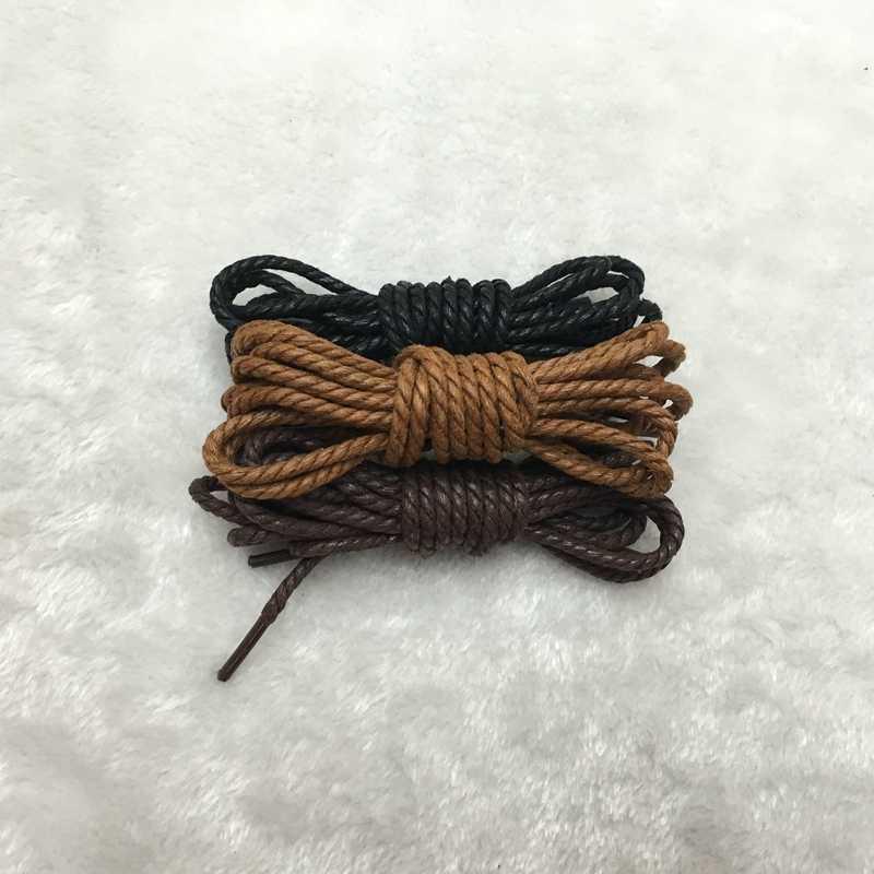 1 çift yüksek kaliteli dantel su geçirmez ayakkabı bağı deri yuvarlak sıska Martin çizmeler deri ayakkabı ayakkabı bağı sarı kahverengi siyah 120CM
