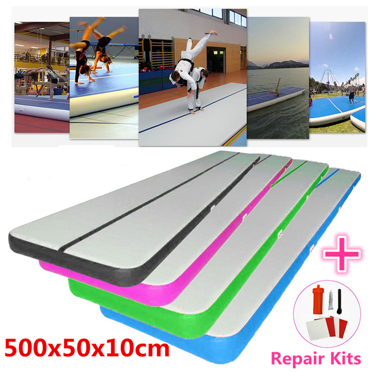 500x50x10cm Airtrack Air Track Floor Home Inflatable Gymnastics Tumbling Mat GYM Inflatable Balance Equipment Exercise epe foam core folding gym mats gymnastics tumbling exercise mat 2 4mx1 2mx3cm